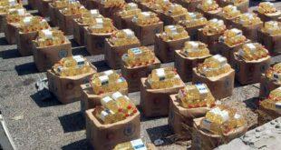توزيع مساعدات غذائية على المتضررين من الحرائق في مصياف والغاب